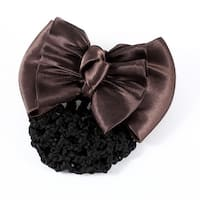 Unique Bargains Coffee Color Polyester Bowknot Design Hair Pin w Black Snood Net