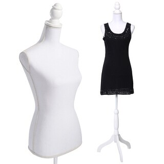 Costway White Female Mannequin Torso Dress Form Display W/ Tripod Stand