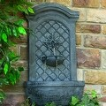 Sunnydaze Rosette Leaf Outdoor Wall Fountain, 31 Inch Tall - Thumbnail 0