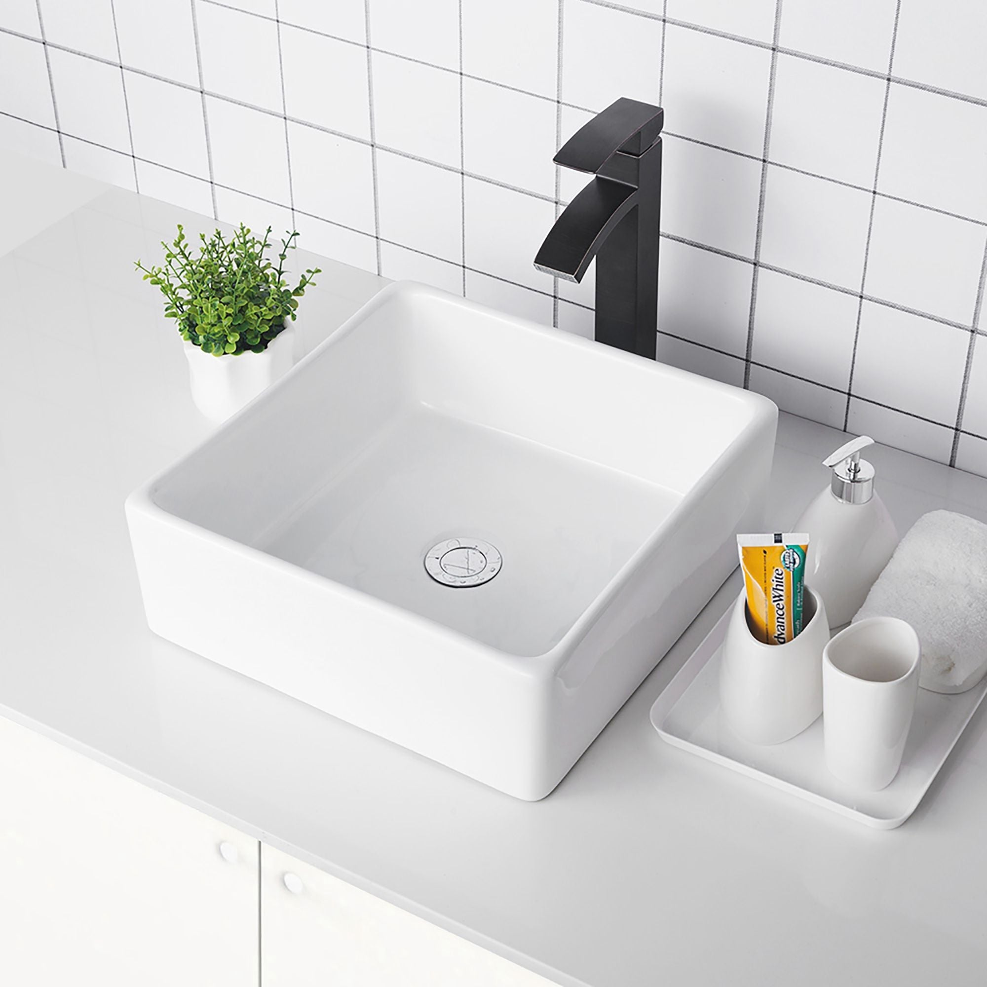 Shop For White Ceramic Handmade Square Vessel Bathroom Sink Get Free Shipping On Everything At Overstock Your Online Home Improvement Outlet Store Get 5 In Rewards With Club O 31633676