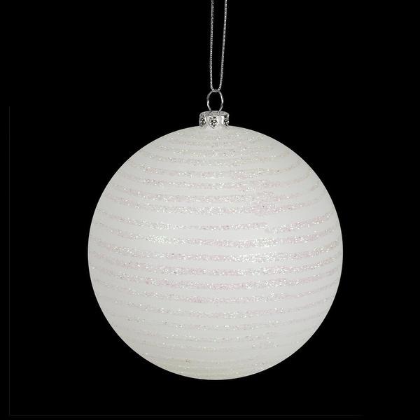 """Winter White Glitter Striped Shatterproof Christmas Ball Ornament 4"""" (100mm)"""