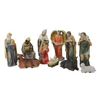 "11 Piece Multicolored Resin Nativity and Epiphany Set 8"" - BLue"