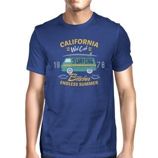 California Beaches Graphic T-Shirt For Men Blue Lightweight Cotton