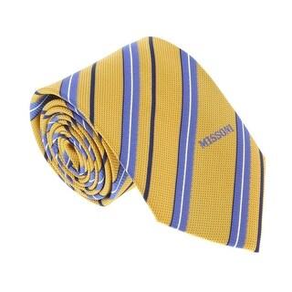 Missoni U4996 Gold/Blue Regimental 100% Silk Tie - 60-3