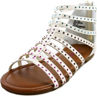 Kensie Girl Jeweled Gladiator Youth Open Toe Synthetic White Gladiator Sandal