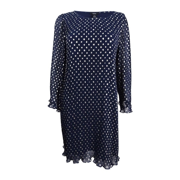 47249cb6d35b Shop MSK Women's Metallic-Polka-Dot Pleated Chiffon Dress - Free ...