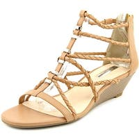 INC International Concepts Makera Women  Open Toe Leather Tan Wedge Sandal