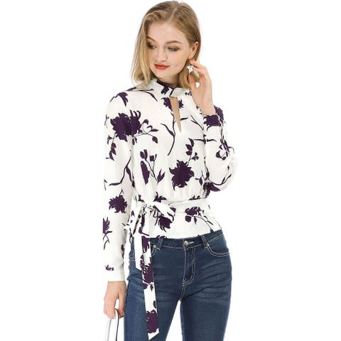 Women's Choker V Neck Long Sleeves Tie Smocked Waist Cropped Floral Blouse Tops