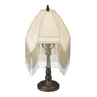 13 Inch H Arabesque Fabric With Fringe Accent Lamp