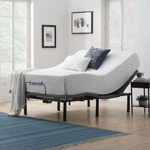 Lucid Comfort Collection 12-inch Gel Memory Foam Mattress and Deluxe Adjustable Bed Set