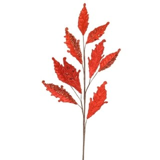 """Club Pack of 12 Jeweled and Beaded Red Acanthus Leaf Spray 26"""""""