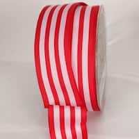 """Red and White Striped Wired Craft Ribbon 1.5"""" x 27 Yards"""