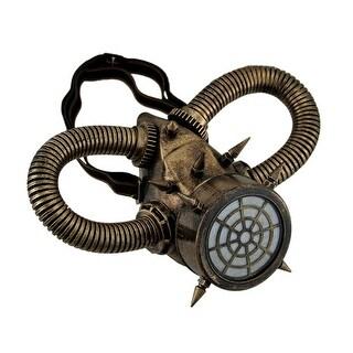 Metallic Finish Spiked Steampunk Respirator Mask with Corrugated Tubing