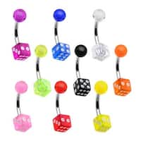 Acrylic Dice 316L Surgical Steel Belly Button Rings
