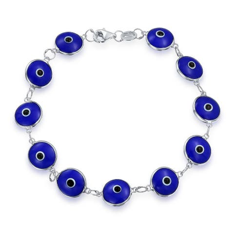 Protection Good Luck Turkish Evil Eye Glass Bead Bracelet For Women For Teen 925 Sterling Silver More Colors - 7.25