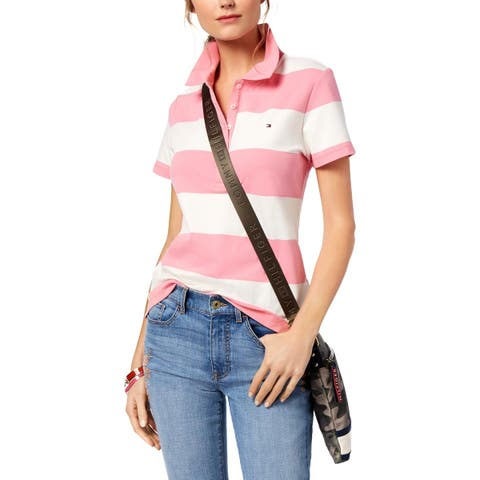 Tommy Hilfiger Womens Polo Top Striped Short Sleeves