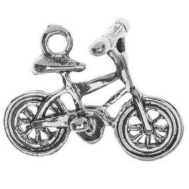 Lead-Free Pewter, Bicycle Charm 17x21mm, 2 Pieces, Antiqued Silver