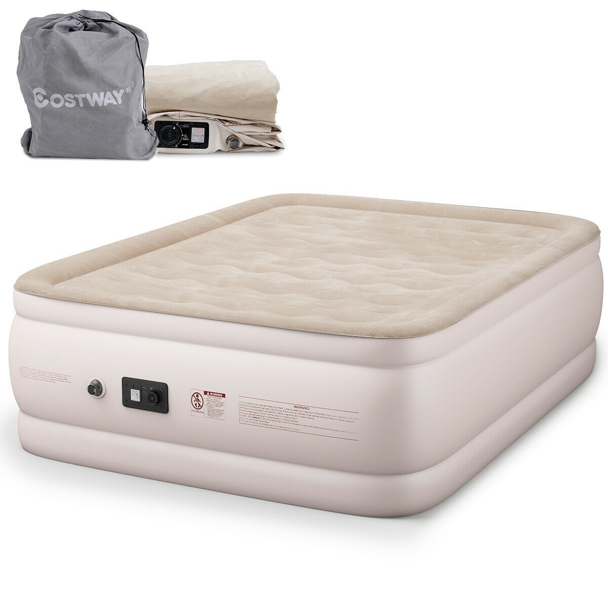 Shop Costway Queen Size Luxury Quilt Top Raised Air Mattress