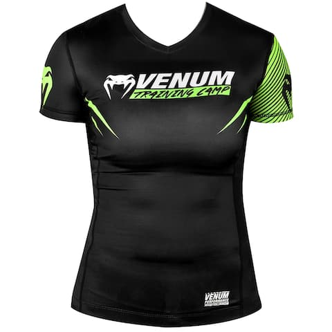 Venum Women's Training Camp 2.0 Short Sleeve Rashguard - Black/Neon Yellow