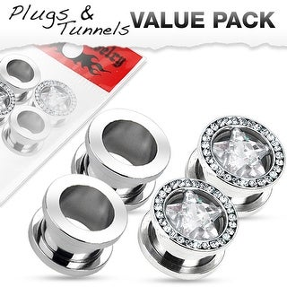 4 Pcs Value Pack of Stainless Steel Tunnels and Gem Rimmed Star CZ Tunnels