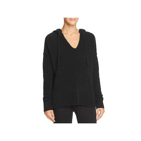 ATM Womens Hooded Sweater Ribbed Trim Drawstring - Black - XS