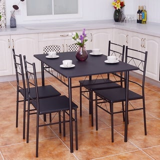Costway 5 Piece Dining Table Set 4 Chairs Wood Metal Kitchen Breakfast Furniture Black