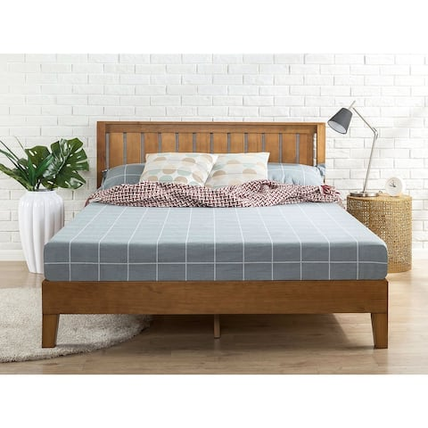 King size Solid Wood Platform Bed Frame with Headboard in Medium Brown Finish