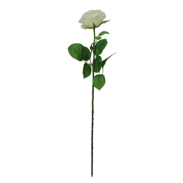 "27"" Artificial Single Long Stem Ivory White Blooming Rose Floral Pick - Off-White - N/A"