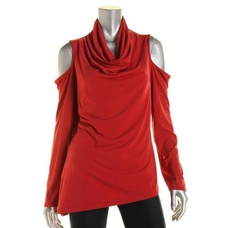 DKNYC Womens Cold Shoulder Cowl Neck Blouse