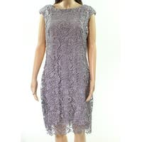 Lauren By Ralph Lauren Silver Womens Size 10 Lace Sheath Dress