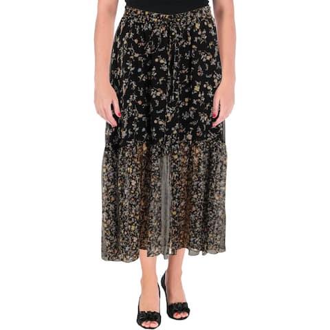Lauren Ralph Lauren Womens Peasant, Boho Skirt Floral Print Two-Tiered