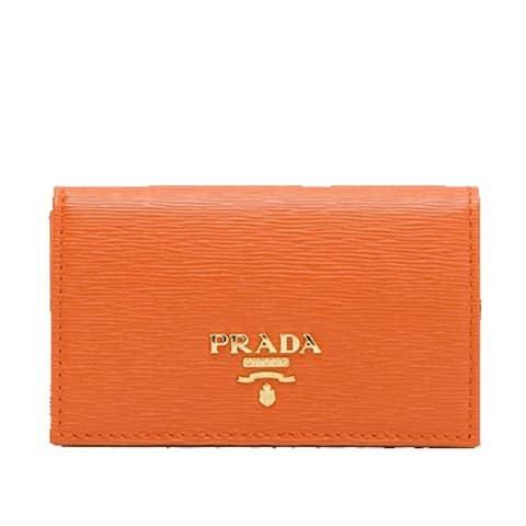 "Prada Papaya Orange Vitello Move Leather Credit Card Holder Wallet 1MC122 - 4.5"" x 2.5"""