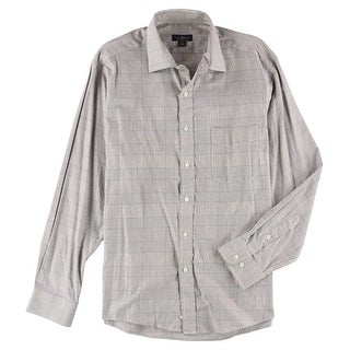 """Link to Club Room Mens Checkered Button Up Dress Shirt, Brown, 16.5"""" Neck 34""""-35"""" Sleeve Similar Items in Shirts"""