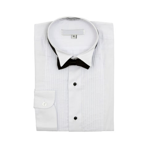 Boy's Wingtip Collar Pleated Tuxedo White Shirt Black Bow Tie