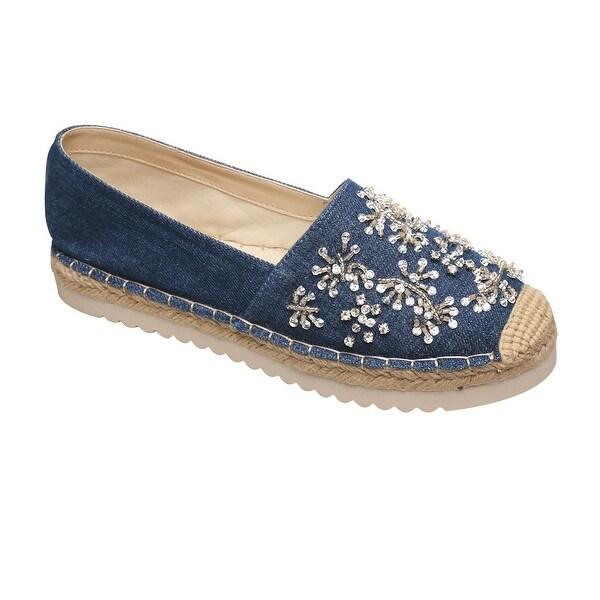 Women's Shoes - Denim Blue Canvas Platform Espadrilles w. Floral Bling
