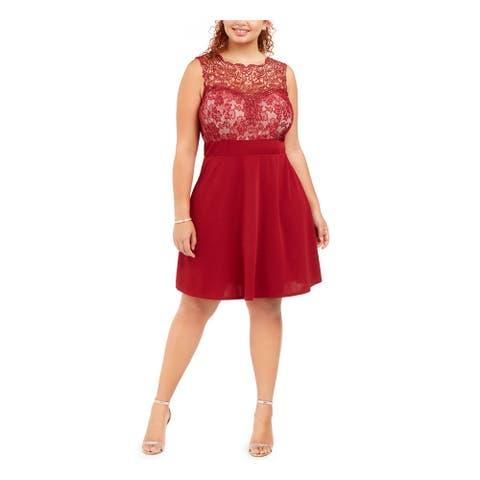 LOVE SQUARED Burgundy Sleeveless Above The Knee Dress 2X