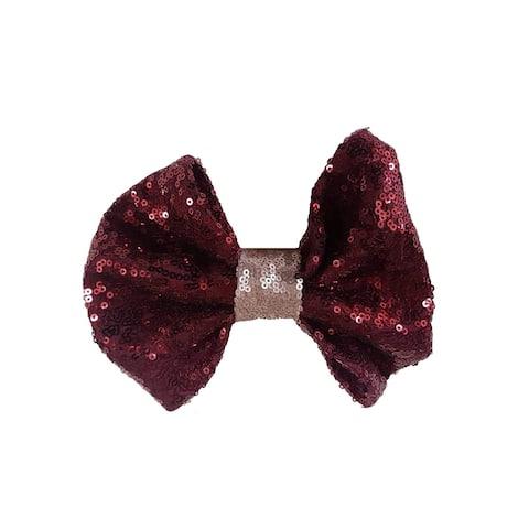 Girls Burgundy Sequin Bow Hair Clippie - One Size