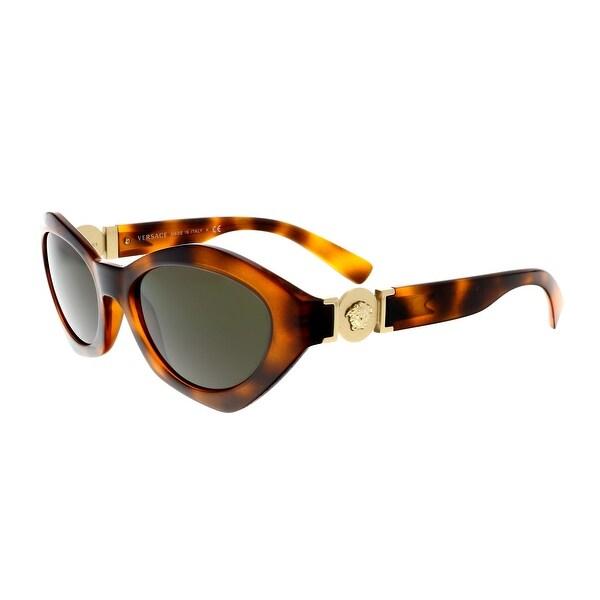 39187f269b0f Shop Versace VE4334 511971 Havana Oval Sunglasses - 54-18-140 - Free ...