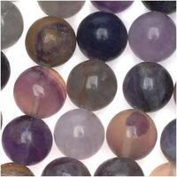 Purple Clear Beige Fluorite Large 10mm Round Beads / 15.5 Inch Strand