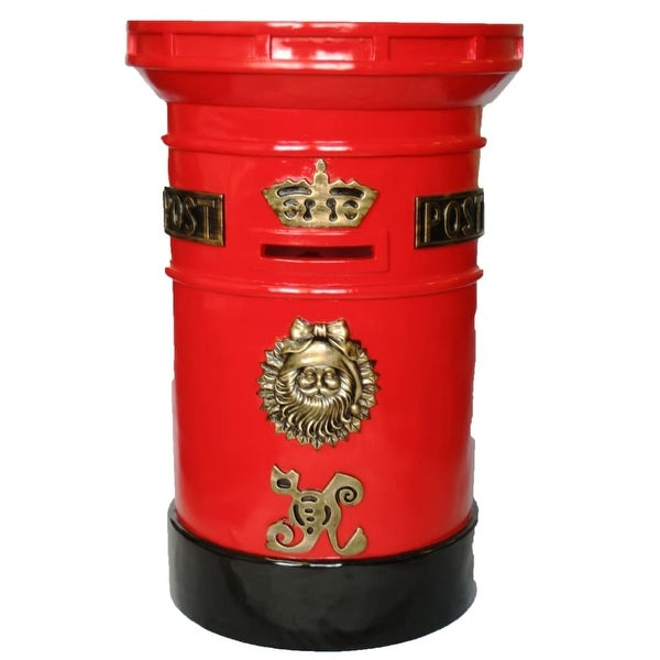 "Christmas at Winterland WL-MAILBOX 36"" Tall Polyresin Santa North Pole Mail Box with Locking Door"