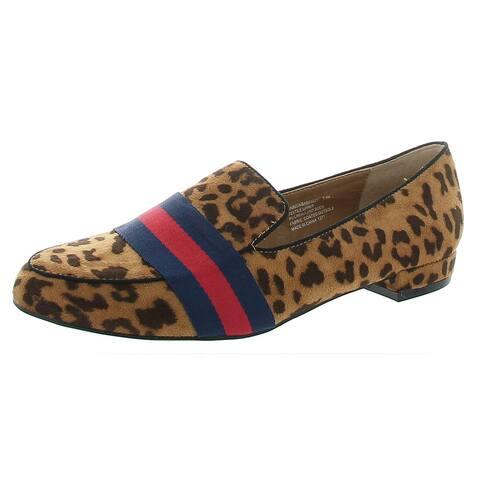 Madden Girl Womens Sabela Loafers Slip On Pointed Toe - Leopard Fabric - 7.5 Medium (B,M)
