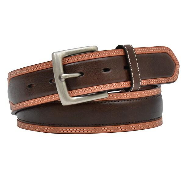 3D Belt Mens Western Roller Antique Overlay Brown Natural