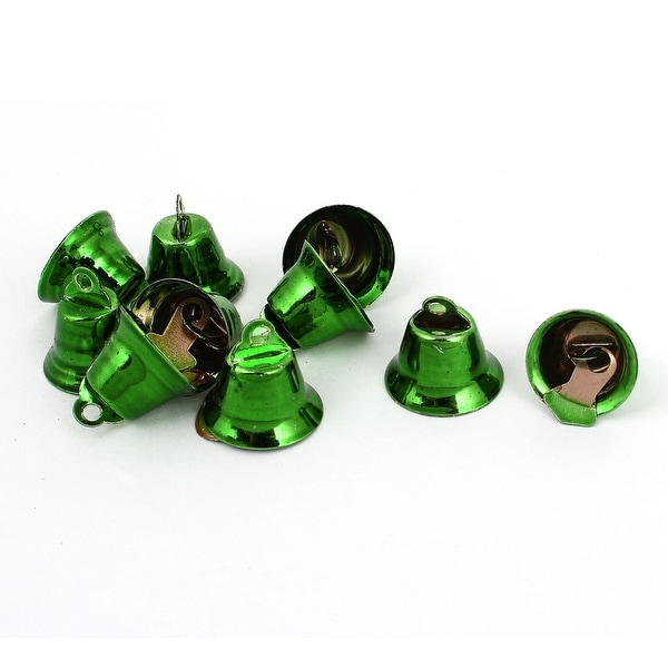 Unique Bargains 10 Pcs Metal 15mm Dia Christmas Tree Ring Bell Hanging Decoration Green