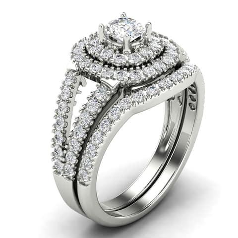 0.95 CT Cushion Shaped Halo Round Cut Diamond Bridal Set in 14KT