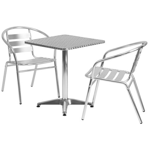 """Offex 23.5"""" Square Aluminum Indoor-Outdoor Table With 2 Slat Back Chairs"""
