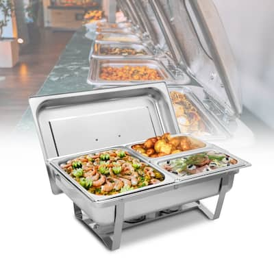 3 Sets of Dishes 1*1/2 2*1/4 Stainless Steel Rectangular Buffet Stove