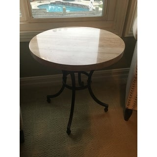 Round Travertine Stone Top Side Table With Rubbed Bronze