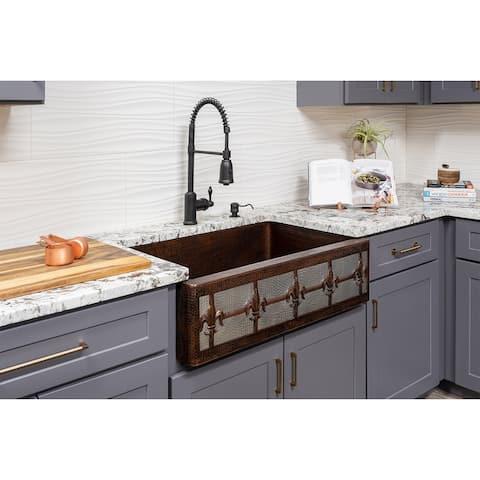 Premier Copper Products KASDB33229F-NB 33-inch Copper Apron Front Single Basin Kitchen Sink w/ Fleur De Lis Dsgn Nickel Bkgrnd