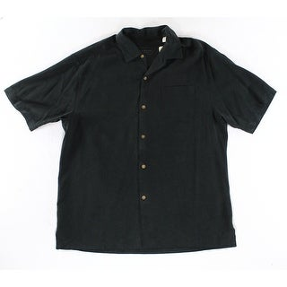 Tommy Bahama NEW Black Mens Size Large L Button Down Silk Shirt