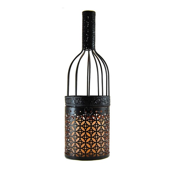 "12"" Black Wine Bottle Metal Lantern with LED Candle - N/A"